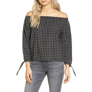 MADEWELL Plaid Off The Shoulder Window Pane Top L